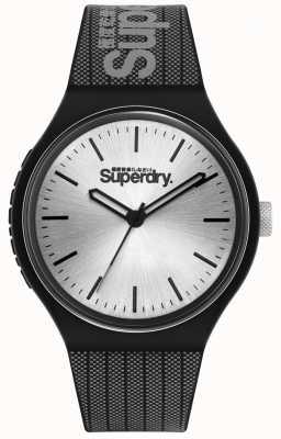 Superdry Silbernes Sonnenstrahlzifferblatt | schwarz und grau bedrucktes Silikonarmband | SYG293B