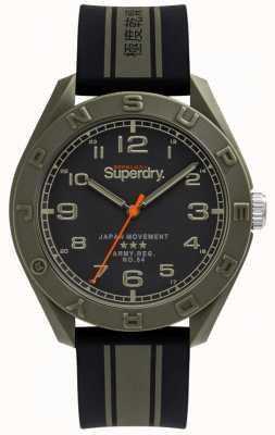 Superdry | osaka | schwarz / khaki Kautschukband | schwarzes Zifferblatt | SYG305NB