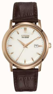 Citizen Mens Goldton braunem Lederband Eco-Drive BM7193-07B