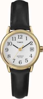 Timex Damen weiß schwarz Lederband Uhr T2H341