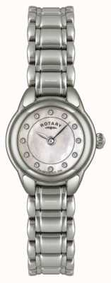 Rotary Ex-Display Damenuhr mit Steinset aus Edelstahl LB02601/07-EXDISPLAY