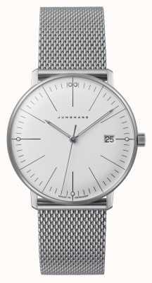 Junghans Max rechnung damen | Edelstahlgewebe Armband | weißes Zifferblatt 047/4250.48