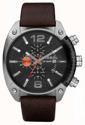 Diesel Herren Chronograph schwarz runden Zifferblatt braunes Lederarmband DZ4204
