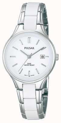 Pulsar Ladies 'weißer Keramik und Edelstahl, weißes Zifferblatt Uhr PH7267X1