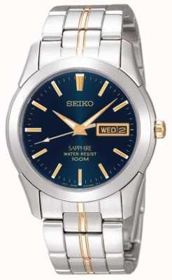 Seiko Mitternacht blaues Zifferblatt Gold Detail Edelstahl SGGA61P1