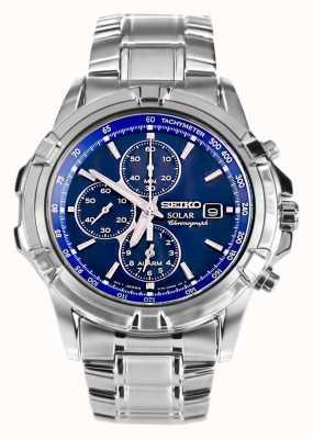 Seiko Herren Edelstahl Zifferblatt blau Solarstrom Chronograph SSC141P1