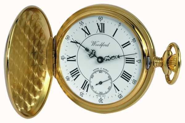 Woodford Gold-Platte, römisch, weißes Zifferblatt, mechanische Taschenuhr 1009