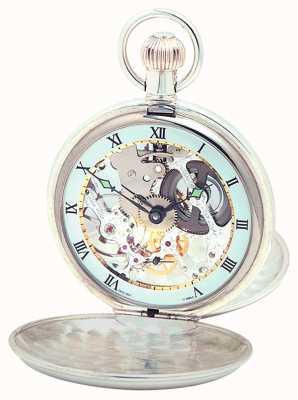 Woodford Sterling Silber Ebene Skelett Schweizer Taschenuhr 1003