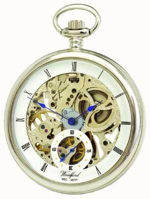 Woodford Chrome, weiß skelettierten Zifferblatt, mechanische Taschenuhr 1043