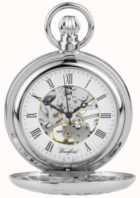 Woodford Edelstahl halb Jäger Blume-Design Taschenuhr 1052
