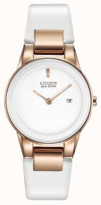 Citizen Ladies 'Axiom, Gold-Platte, weißer Keramik, Lederband Uhr GA1053-01A
