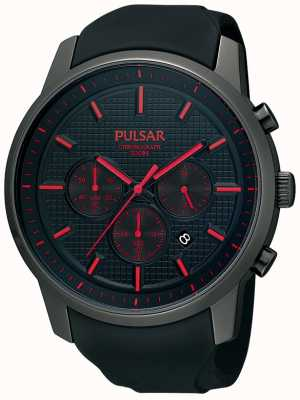 Pulsar Mens schwarz ionenplattiert rot Detail Gummiband Uhr PT3195X1