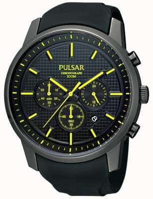 Pulsar Mens schwarz ionenplattiert gelb Detail Gummiband Uhr PT3193X1