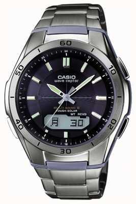 Casio Mens Welle ceptor schwarzes Zifferblatt Titaneinsatzuhr WVA-M640TD-1AER