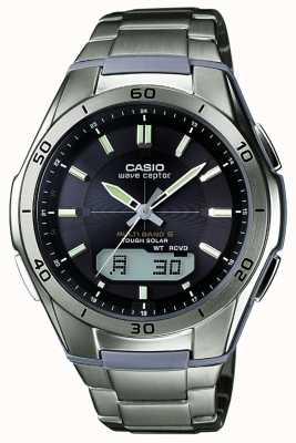 Casio Mens Wave Ceptor schwarzes Zifferblatt Titan Uhr WVA-M640TD-1AER