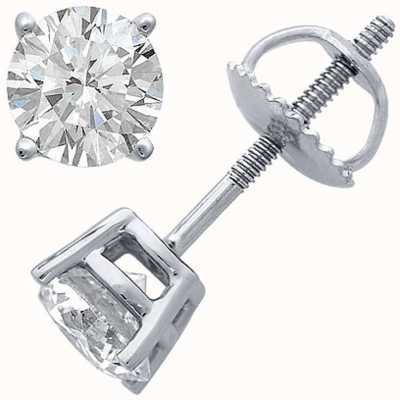 Certified Diamond Ohrringe, vier Krallen 1.00ct h si, Schraubboden Armaturen C100PT-4CLAW-HSI
