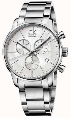 Calvin Klein Mens Stadt Edelstahl-Chronograph K2G27146
