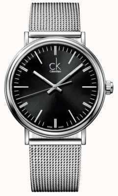 Calvin Klein Mens umgeben schwarzes Zifferblatt Mesh Bügeluhr K3W21121