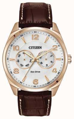 Citizen Herren Roségold Champagner Zifferblatt braunes Lederarmband Uhr AO9023-01A