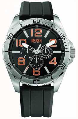 Hugo Boss Orange Mens-Edelstahl-Armband aus schwarzem Kautschuk Mehr Vorwahlknopfmattuhr 1512945