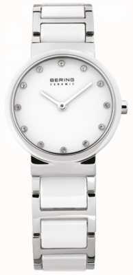 Bering Damen weißer Keramik analoge Uhr des Quarzes 10729-754