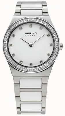 Bering Damen weißer Keramik analoge Uhr des Quarzes 32430-754