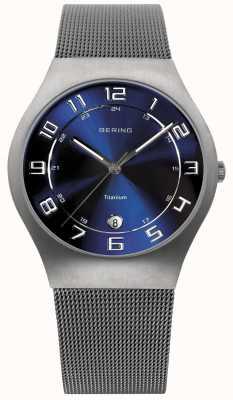 Bering Herren Titan Zifferblatt blau-Netz Bügeluhr 11937-078