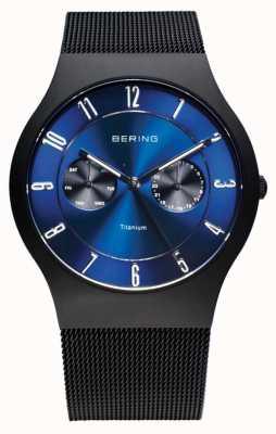 Bering Herren Titan blau Vorwahlknopfmattuhr 11939-078