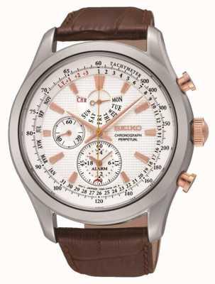 Seiko Herren Edelstahl weißes Zifferblatt braun Leder Uhr SPC129P1