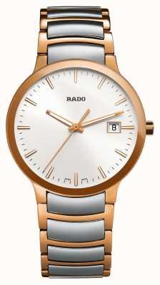 RADO Centrix zweifarbige weiße Zifferblattuhr aus Edelstahl R30554103