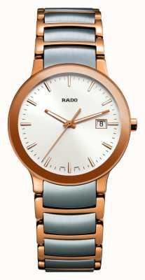 Rado Centrix zweifarbige Edelstahluhr mit weißem Zifferblatt R30555103