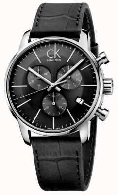 Calvin Klein Mens black & Edelstahl Lederband Uhr K2G271C3