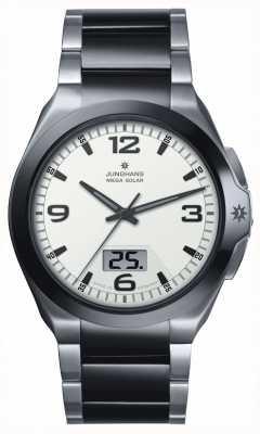 Junghans Mens, spektrum Mega Solar-, Stahl- und schwarzer Keramik Uhren 018/1423.44