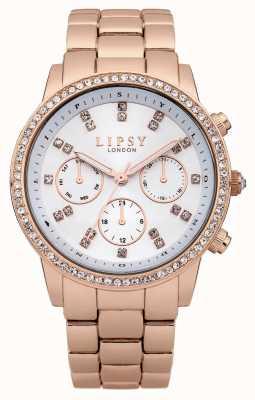 Lipsy Rose Gold Edelstahl Armband mit Diamant Zifferblatt LP240