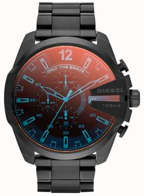 Diesel Herren Mega Chef, schwarz ip Stahl, irisierend Uhr DZ4318