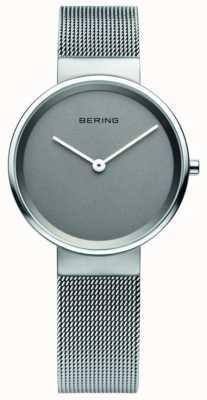 Bering Frauen klassisch, Mesh, graues Zifferblatt, Stahl-Uhr 14531-077