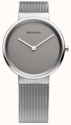 Bering Herren klassisch, Mesh, grau Vorwahlknopfmattuhr 14539-077