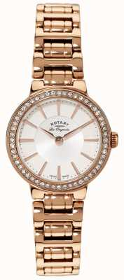 Rotary Damen les originales, Goldplatte, Kristall-Set Uhr LB90085/02