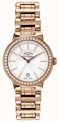 Rotary Damen les originales, Goldplatte, Kristall-Set Uhr LB90085/02L
