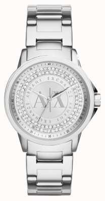 Armani Exchange Damen städtischen Kristall gesetzt Edelstahlarmband AX4320