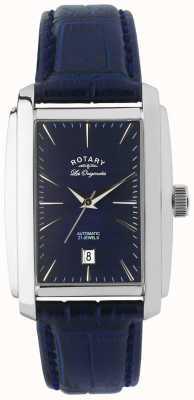 Rotary Gents blauem Leder automatische analoge Uhr LE90012/05