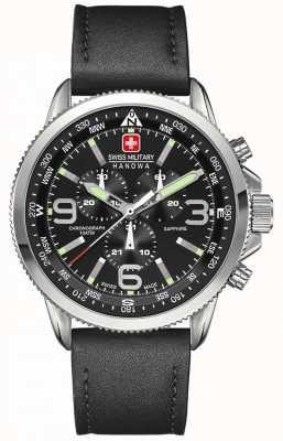 Swiss Military Hanowa Mens Edelstahl, schwarzes Zifferblatt, schwarzes Leder Chronograph 6-4224.04.007