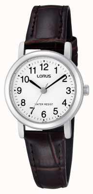 Lorus Damen Edelstahl Lederband Uhr RRS57UX9