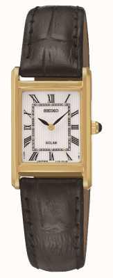Seiko Solarbetriebene rechteckige vergoldete Damenuhr für Damen SUP250P1