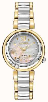 Citizen Eco-drive Sonnenaufgang l Damen Diamant zwei Ton EM0324-58D