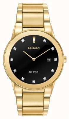 Citizen | Herren Axiom Eco-Drive | diamantbesetztes schwarzes Zifferblatt | AU1062-56G
