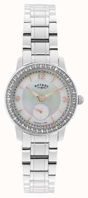 Rotary Damen Edelstahl analoge Uhr des Quarzes LB02700/41