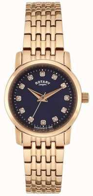 Rotary Frauen Roségold blaues Zifferblatt LB02462/05