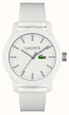 Lacoste Mens 12.12 weiß Silikonband weißes Zifferblatt 2010762