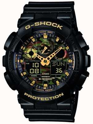 Casio G-Schock Chronograph Alarm Tarnung Wahl GA-100CF-1A9ER